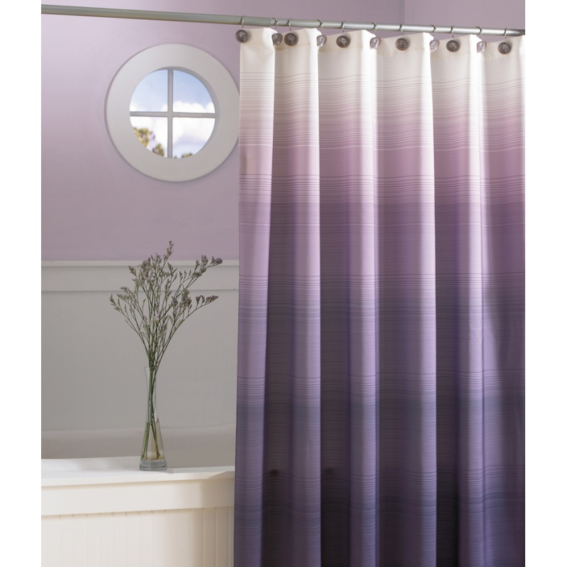 Purple-Shower-Curtain-2013 Fabulous And Stunning Colorful Bathrooms to Renew Yours