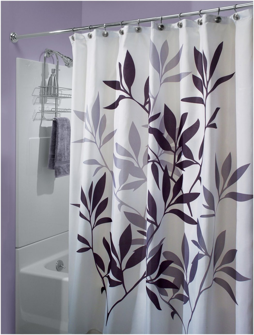 White Decorative Curtain Rods Purple Damask Shower Curtain