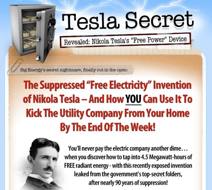 TeslaSecretAd Nikola Tesla Secret Methods for Generating FREE Electricity