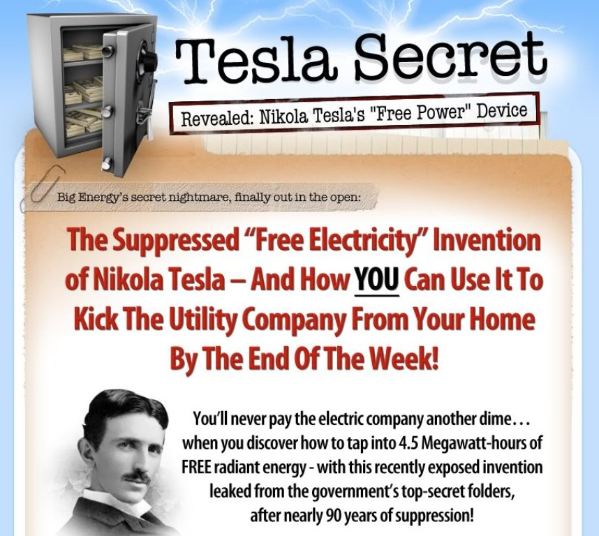 TeslaSecretAd Nikola Tesla Secret Methods for Generating FREE Electricity
