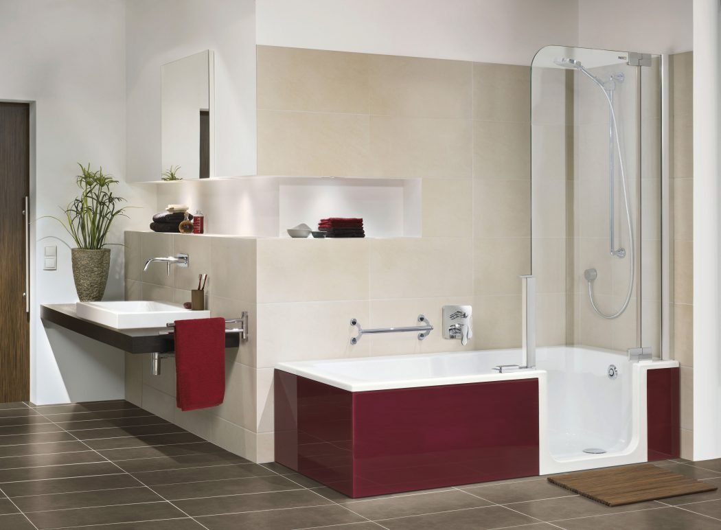 Walk-In-Showerbath-bordeaux Fabulous And Stunning Colorful Bathrooms to Renew Yours