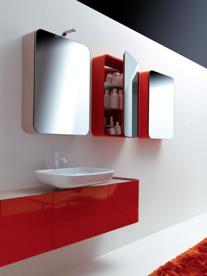bathroom-in-red-black-and-white-pretty-fabulous-colorful-bathroom-in-red-white Fabulous And Stunning Colorful Bathrooms to Renew Yours