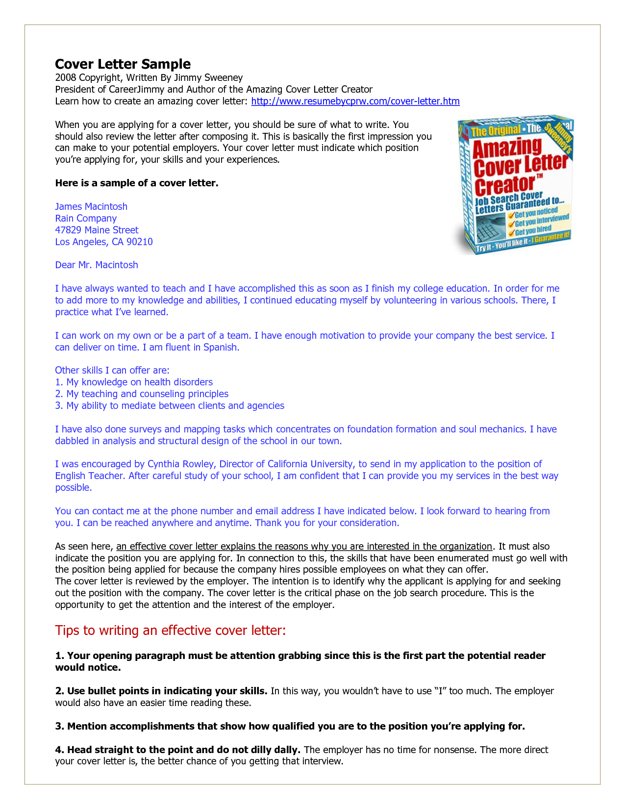 cover-sample. Do You Know How to Get Amazing Cover Letters?