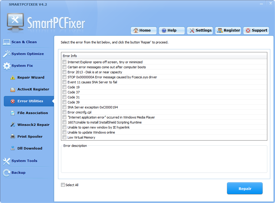 "errorrepair How to Fix Windows Errors and Optimize PC using ""Smart PC Fixer""?"