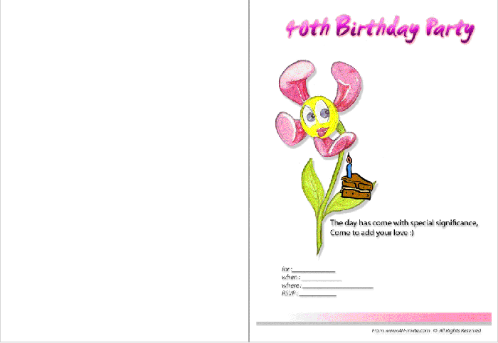 free-printable-40th-birthday-invitation-2-1 50 Most Stylish printable greeting cards