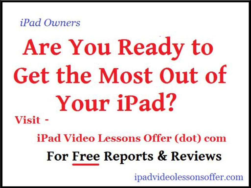 "lessons Discover your iPad with ""ipad Video Lessons"""
