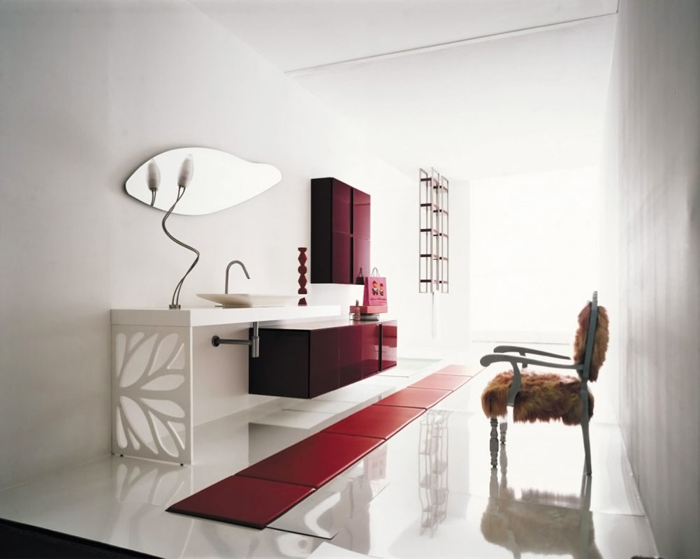luxury-bathroom-red-cabinet-interior-neat-design-ideas Fabulous And Stunning Colorful Bathrooms to Renew Yours