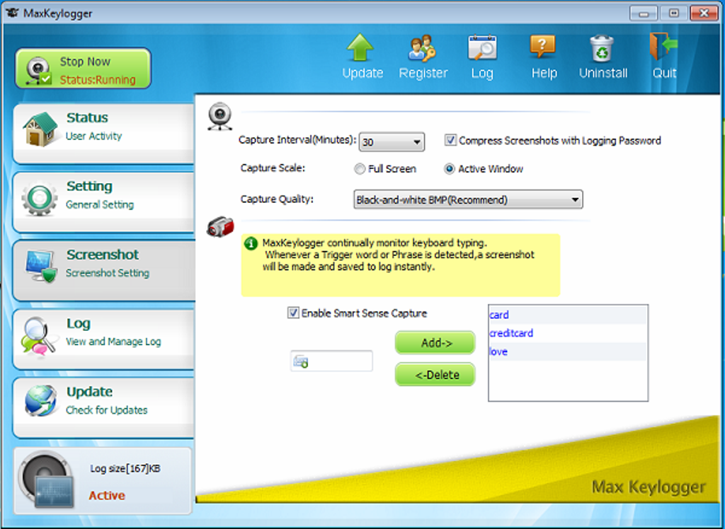 """max-keylogger-review-screenshot.png How to Remotely Monitor Your Computer and Record ALL Keystrokes Using """"Max keylogger""""?"""