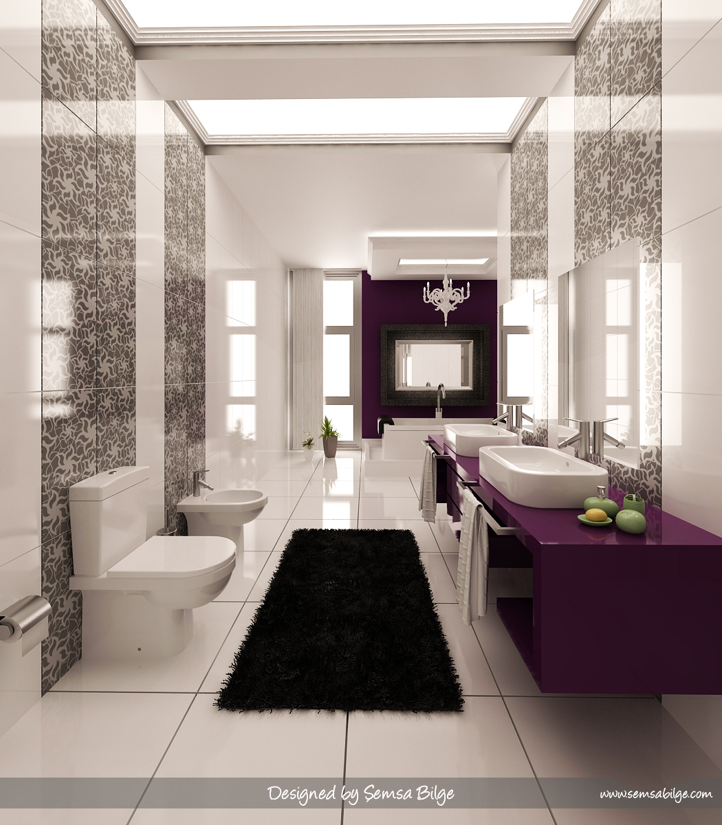 purple-black-and-white-graphic-print-bathroom-Bathroom-Designs-by-Daymon-Studio-and-Semsa-Bilge Fabulous And Stunning Colorful Bathrooms to Renew Yours