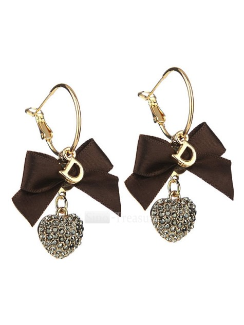 1-Pretty-Brown-Alloy-Silver-plating-Gold-plating-Crystal-Diamond-Bow-Earrings-4253-7362-475x633 How To Use Earrings With Straight Hair, Tied or with Veil