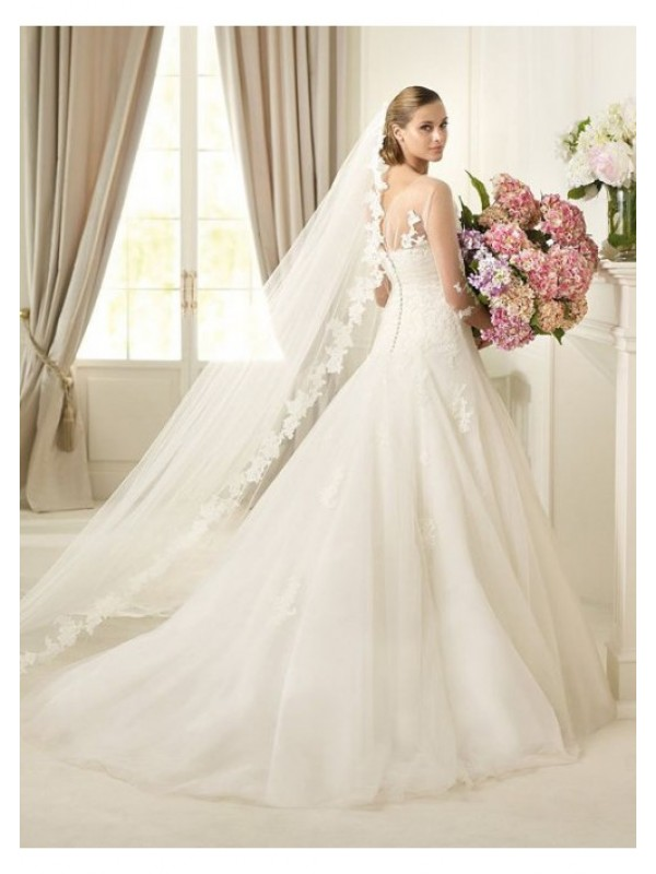 2013-chic-scoop-ruched-appliqued-wedding-dress-with-1-2-sleeves-_wd2013-005__2 70 Breathtaking Wedding Dresses to Look like a real princess