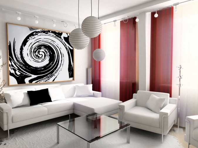 Attractive-Minimalist-White-Living-Room-With-Red-Curtains 20+ Awesome Images for the Latest Models of Curtains