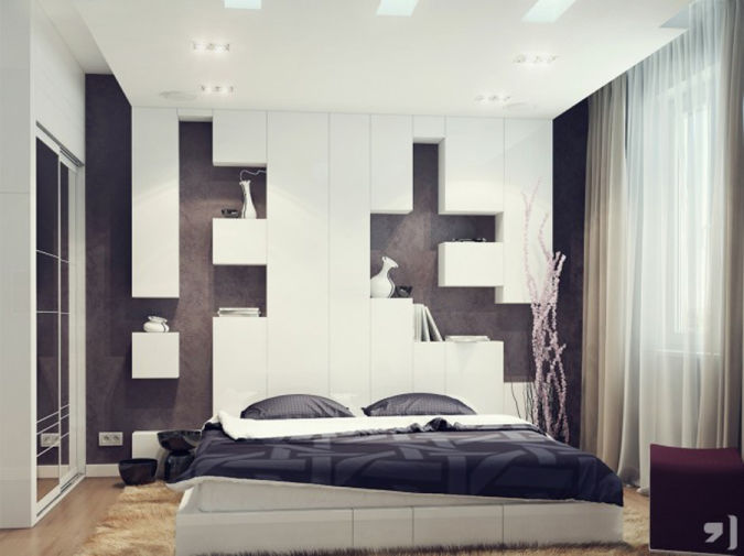 Black-and-White-Bedroom-Paint-Ideas-for-Couples-White-Bed-White-Curtain-Brown-Rug 20+ Awesome Images for the Latest Models of Curtains