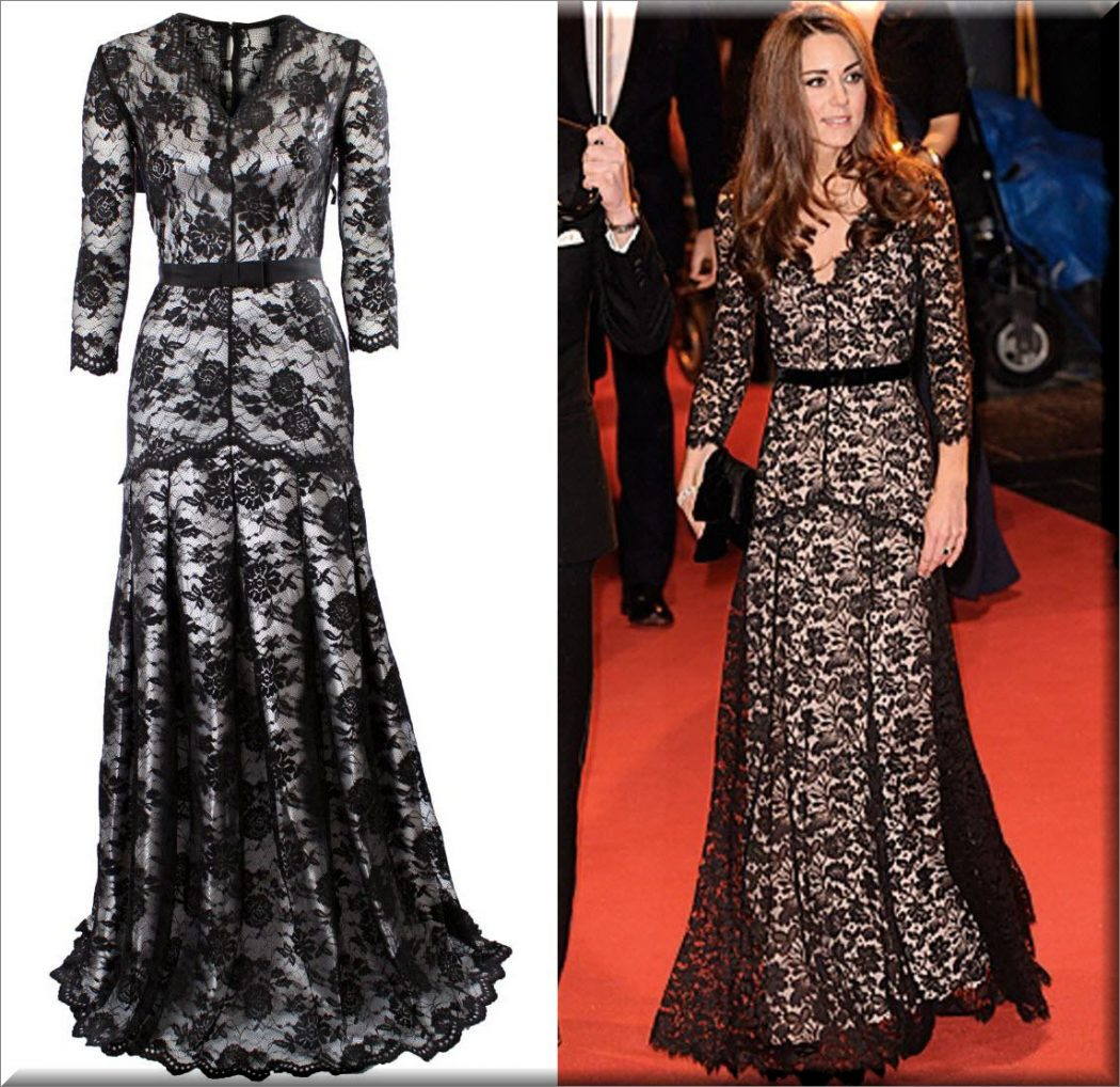 Black-lace-overlaid-silver-lining-gown-style-Kate-Middleton The Most Famous Celebrities Clothing Brands