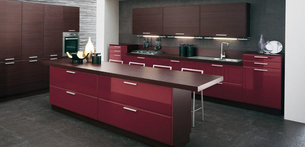 Burgundy-brown-kitchen-design-island Breathtaking And Stunning Italian Kitchen Designs