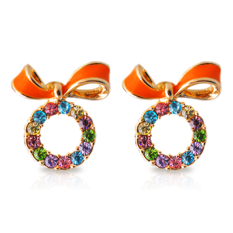 Colorful-earring-with-an-orange-bow-938-475x475 How To Use Earrings With Straight Hair, Tied or with Veil