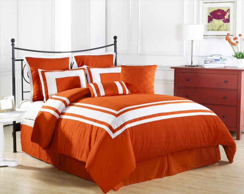 Comforter-Set-in-Tangerine-with-White-Stripe Fabulous Orange Bedroom Decorating Ideas and Designs