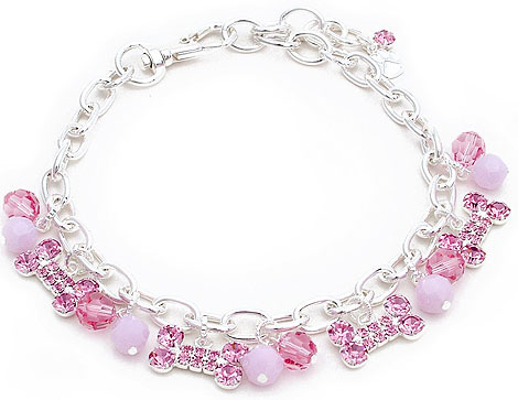 Crystal-Dog-Necklace-CC003M-Pet-Jewelry-Collar-Bone-and-Beac-Charm-Pink Dress Your Dog In Jewels