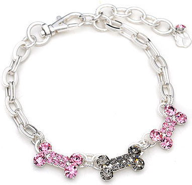 Crystal-Dog-Necklace-CC014M-Pet-Jewelry-Collar-Pink-Grey-3-Bones-Collar Dress Your Dog In Jewels