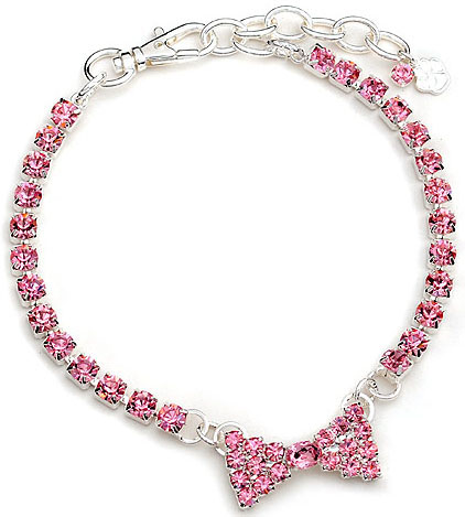 Crystal-Dog-Necklace-CC025M-Doggie-Jewelry-Collar-Large-Pink-Bow Dress Your Dog In Jewels