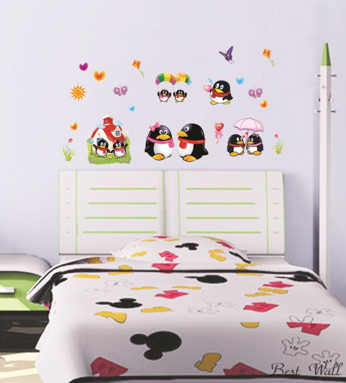 Cute-penguins-party-decorations-girl-font-b-vinyl-b-font-font-b-wall-b Amazing and Catchy Wall Stickers for Home Decoration