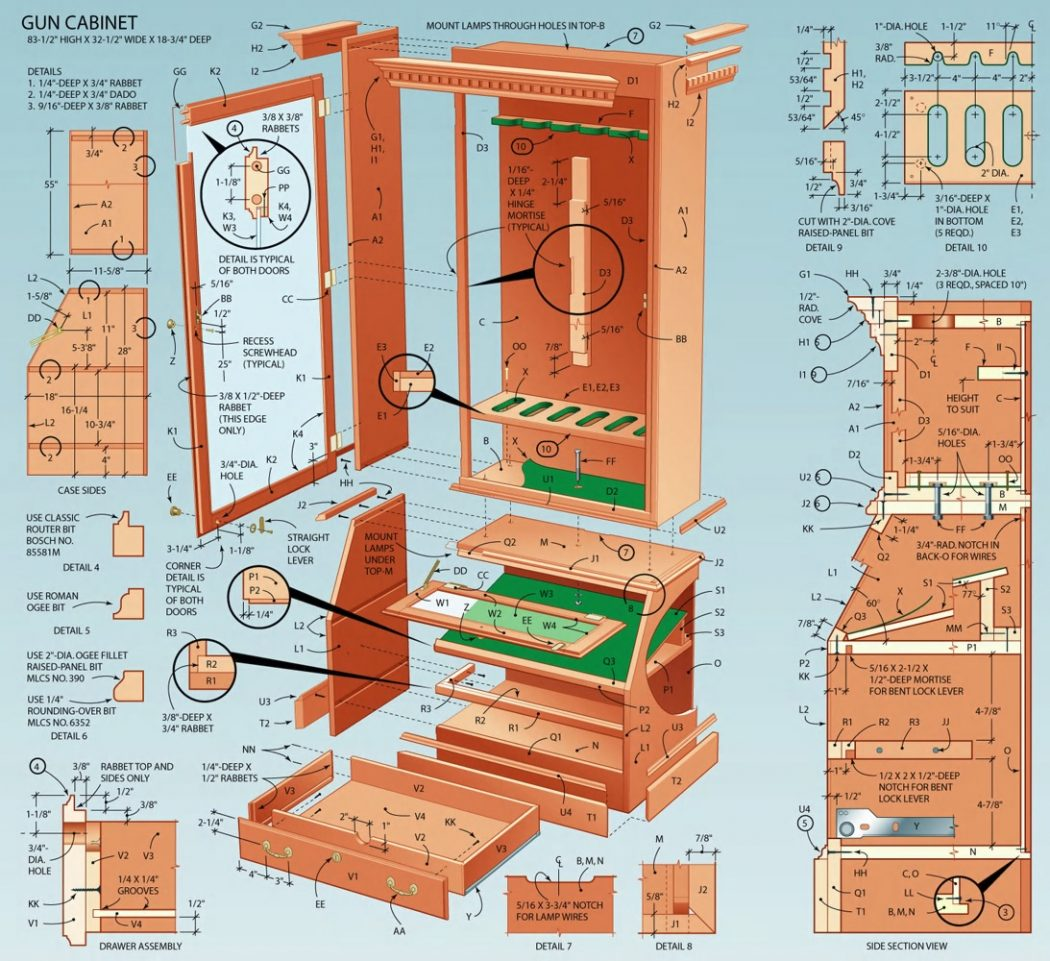 Display-Case-Exploded-View-cabinet How to Build Woodworking Projects Quickly & Easily on Your Own?