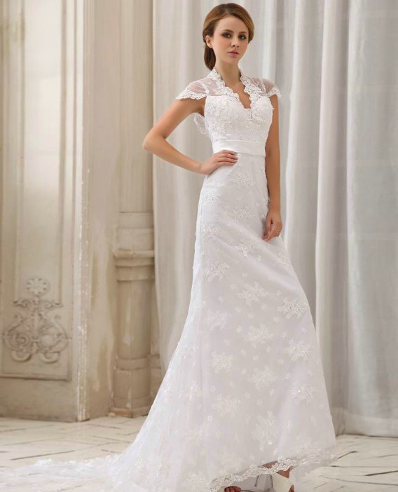 Empire halter lace wedding dress with cap sleeves for Empire lace wedding dress