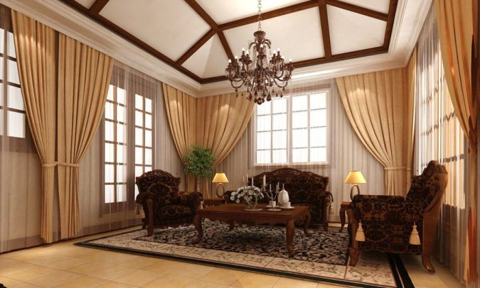 European-style-brown-living-room-curtains-design 20+ Awesome Images for the Latest Models of Curtains