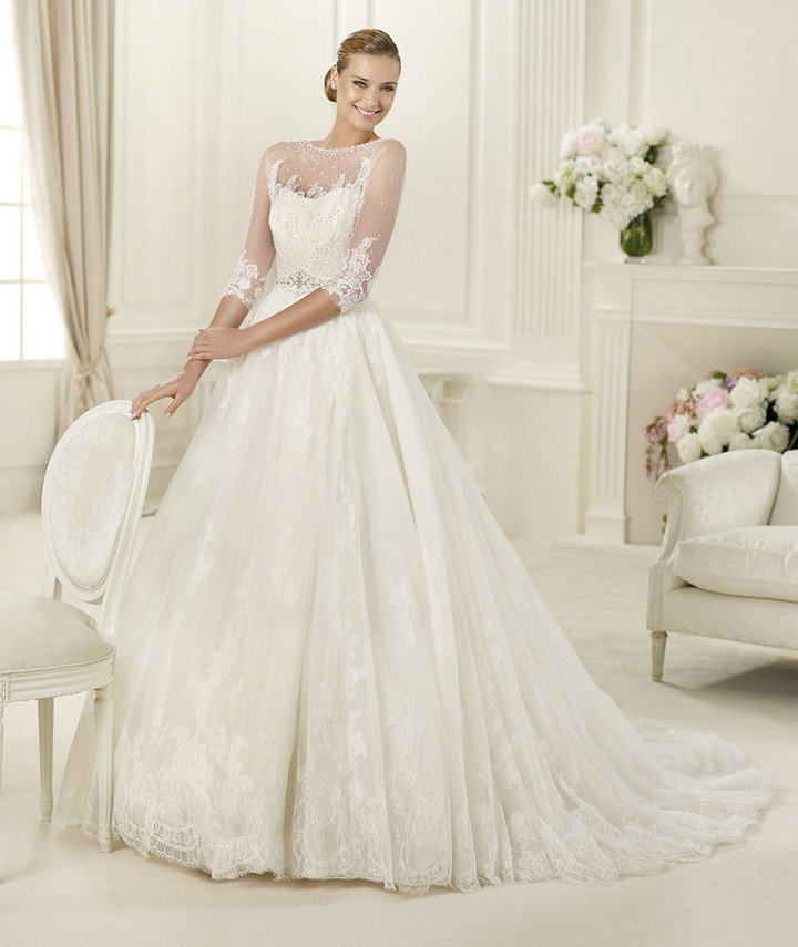 Free-Shipping-Ball-Gown-Ivory-Tulle-Lace-Long-Sleeve-Bridal-Wedding-Dresses-With-Long-Train-2013- 70 Breathtaking Wedding Dresses to Look like a real princess