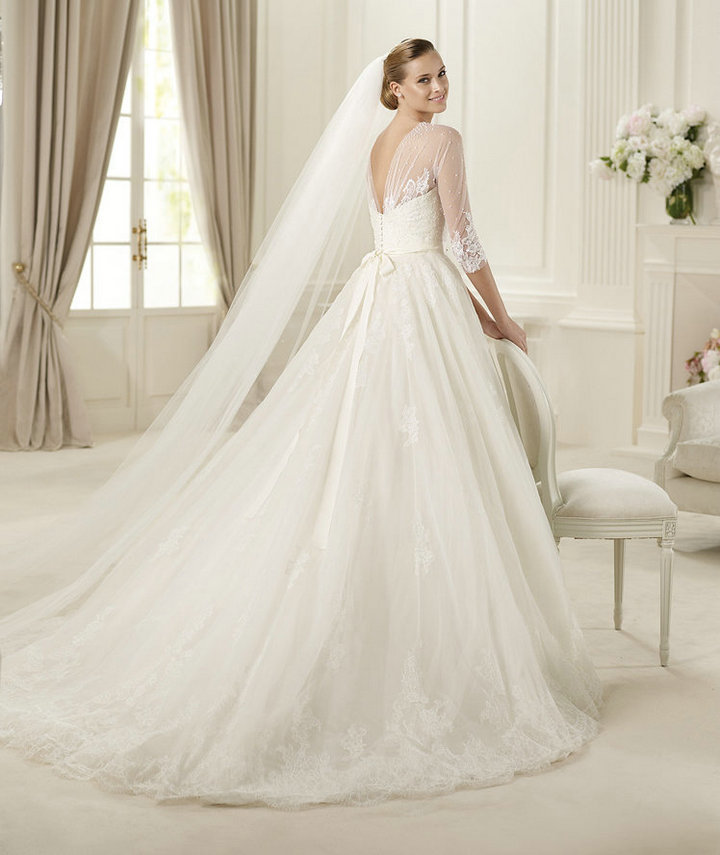 Free-Shipping-Ball-Gown-Ivory-Tulle-Lace-Long-Sleeve