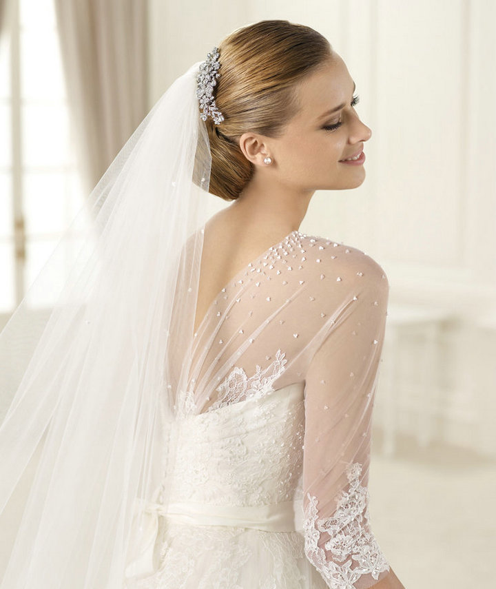 Free Shipping Ball Gown Ivory Tulle Lace Long Sleeve Bridal Wedding Dresses W