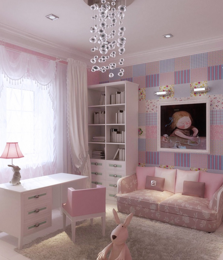Girly-Pink-Lilac-Blue-Girls-Bedroom-Design-with-Two-Cozy-Sofa-and-Three-Drawers-Study-Desk-by-Natalya-Belyakova Girls' Bedroom Decoration Ideas and Tips