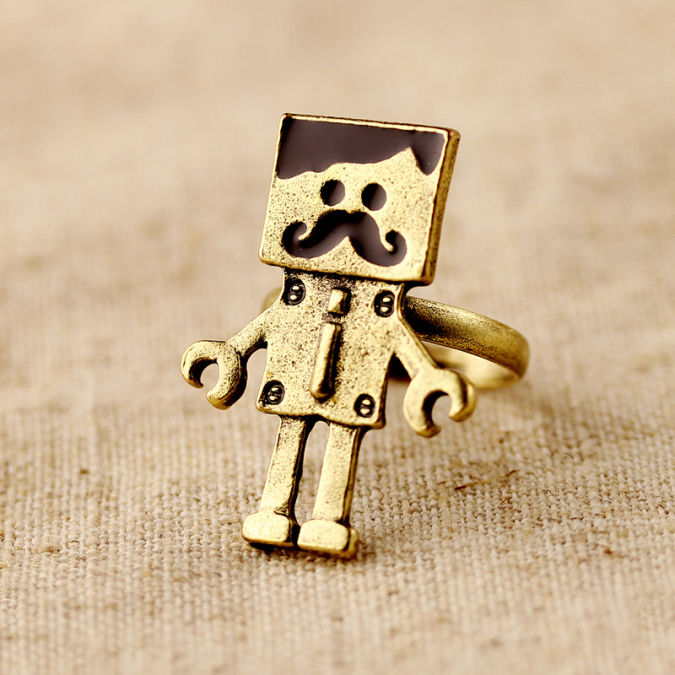 Hl03504-fashion-accessories-vintage-robot-open-ring-finger-ring-female-4g Best 10 Robot Gift Ideas