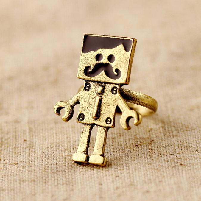 Hl03504-fashion-accessories-vintage-robot-open-ring-finger-ring-female-4g Best 10 Robot Gift Ideas