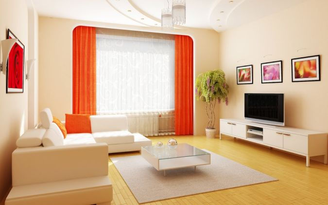 Ideas-Clean-Living-Room-With-Large-Tv-And-Contrast-Color-Between-Red-Curtain-And-White-Sofa 20+ Awesome Images for the Latest Models of Curtains