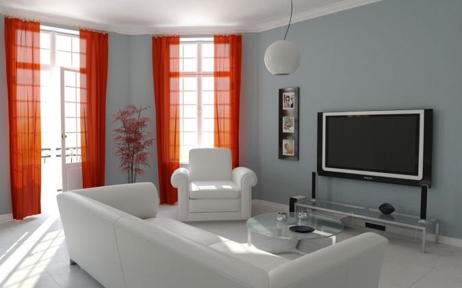 Interior-simple-white-grey-with-red-curtain-living-room-design 20+ Awesome Images for the Latest Models of Curtains