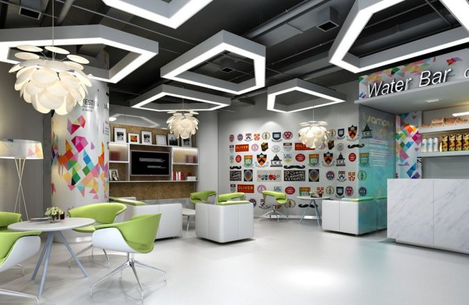 Kindergarten-reception-room-interior-design Awesome and Dazzling Suspended Ceiling Decorations