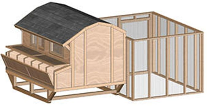 Large-portable-barn-style-chicken-house How to Build Your Own Inexpensive Chicken Coop Easily