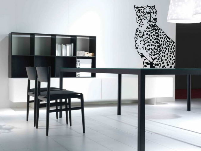 Leopard-Print-Wall-Decals-White-Color-With-Hardwood-Floors Amazing and Catchy Wall Stickers for Home Decoration