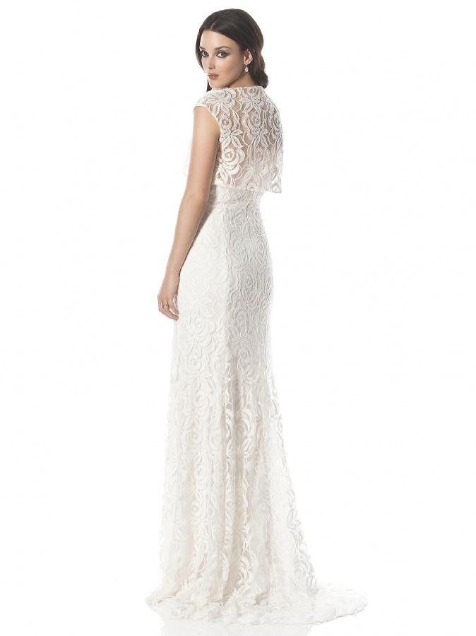 Modern-Lace-White-Sheath-High-Neck-Neckline-Sleeveless-Wedding-Dress-WG7367-01 70 Breathtaking Wedding Dresses to Look like a real princess