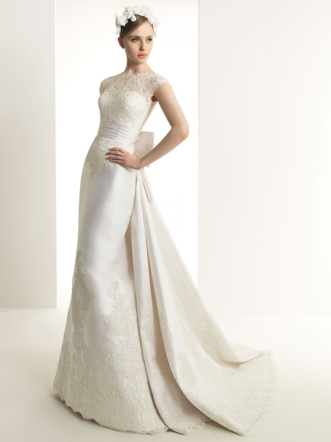 Modern-Sheath-Scoop-Bodice-Natural-Short-Sleeves-Wedding-Dresses-DS0061 70 Breathtaking Wedding Dresses to Look like a real princess