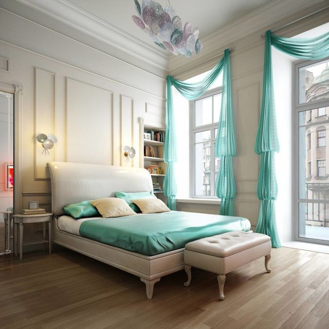 Neat-Romantic-Bedrom-Decorated-With-Stylish-Curtains 20+ Awesome Images for the Latest Models of Curtains