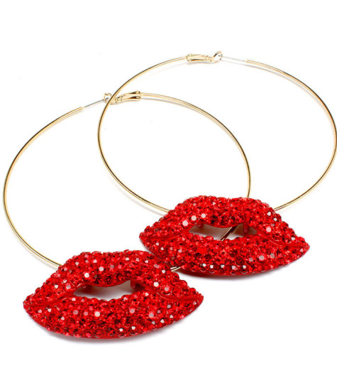 Oversized_Hoop_Diamond_Lip_Earrings_Red-475x546 How To Use Earrings With Straight Hair, Tied or with Veil