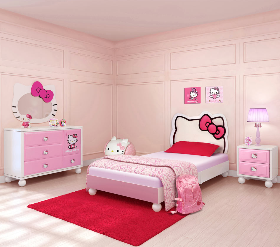 Pink-Hello-Kitty-Girls-Room Girls' Bedroom Decoration Ideas and Tips