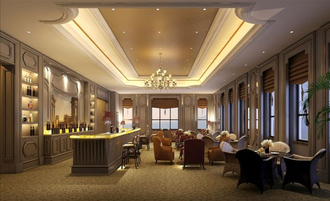 Restaurant-hall-ceiling-and-windows Awesome and Dazzling Suspended Ceiling Decorations
