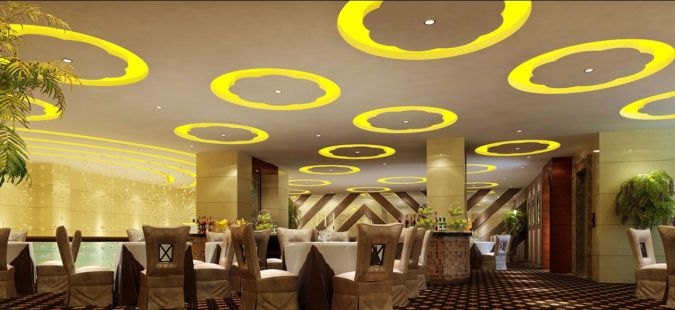 Restaurant-hall-interior-ceiling-design-rendering Awesome and Dazzling Suspended Ceiling Decorations