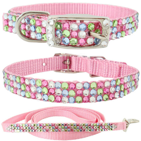 Rhinestone-Dog-Collars-C028M3-Bling-Pet-Collars-Swarovski-Pink-Pastel-Colored-Crystals-475x475 Dress Your Dog In Jewels