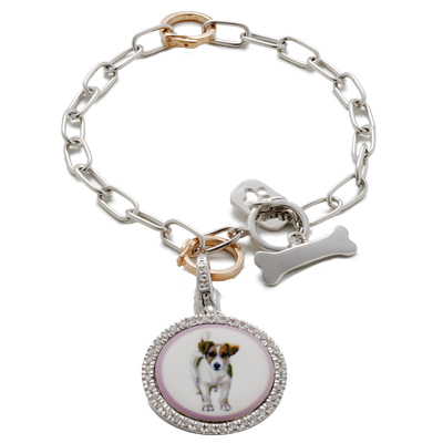 Rosato-Bracciale-in-argento-con-charm-smaltato.-Collezione-My-Dog-Prezzo-156-€ Dress Your Dog In Jewels