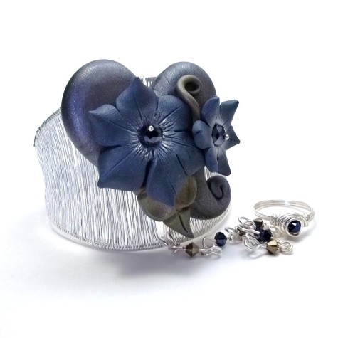 Silver-Cuff-Slave-Bracelet-with-Polymer-Clay-Heart-and-Flowers-475x475 How To Use Silver Accessories In Different Occasions ?