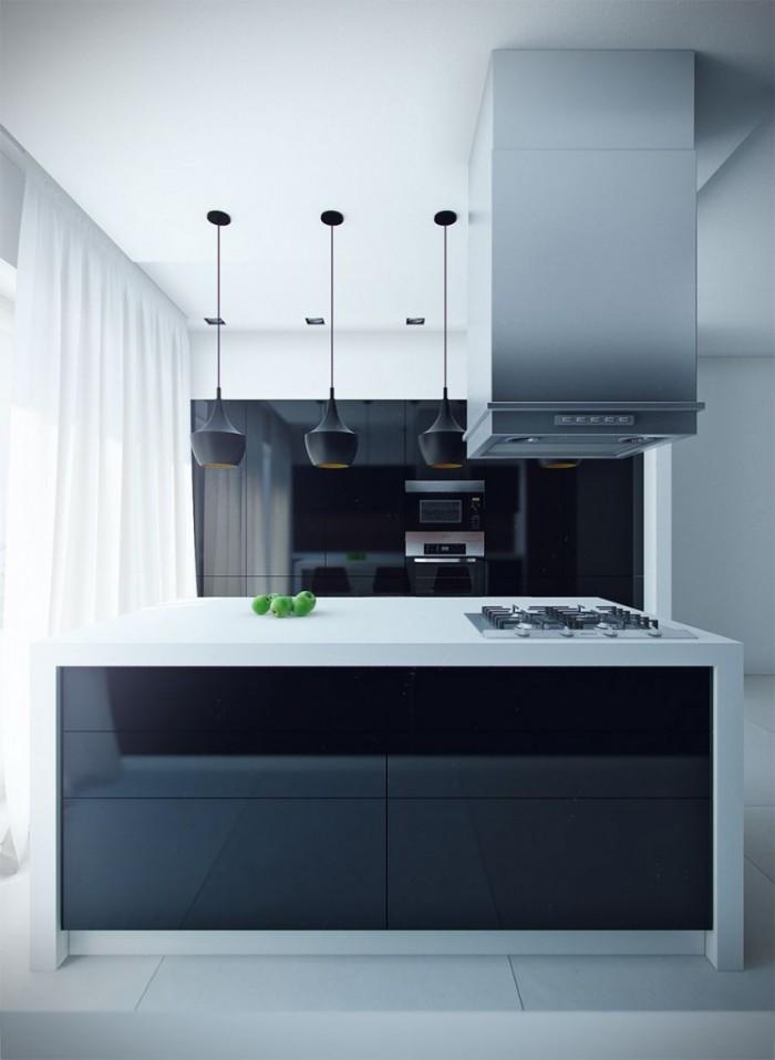 Sleek-Black-Kitchen-Island-With-White-Countertop-And-Black-Kitchen-Lighting-700x958 Frugal And Stunning kitchen decoration ideas